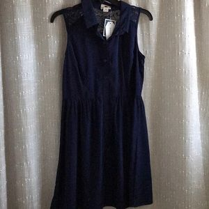 Navy Sleeveless Button Down Dress